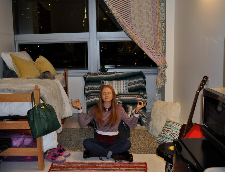Savannah Sturgeon is at peace in her dorm room in McKeon Hall. (Jessica Hanley/ The Observer)