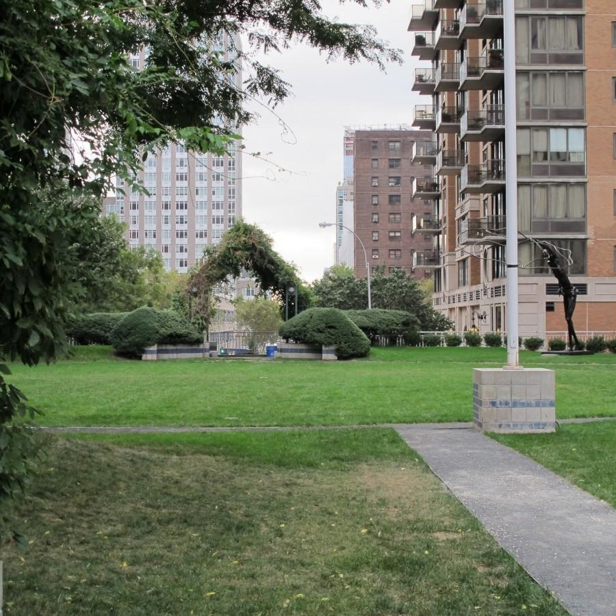 Part of the green space of Fordham College at Lincoln Center's Robert Moses Plaza. (Lauren MacDonald/Observer Archives)
