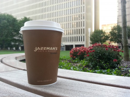 The Jazzman's coffee cup can be seen around campus, showing the new dining option's popularity. (Elizabeth Landry/The Observer)