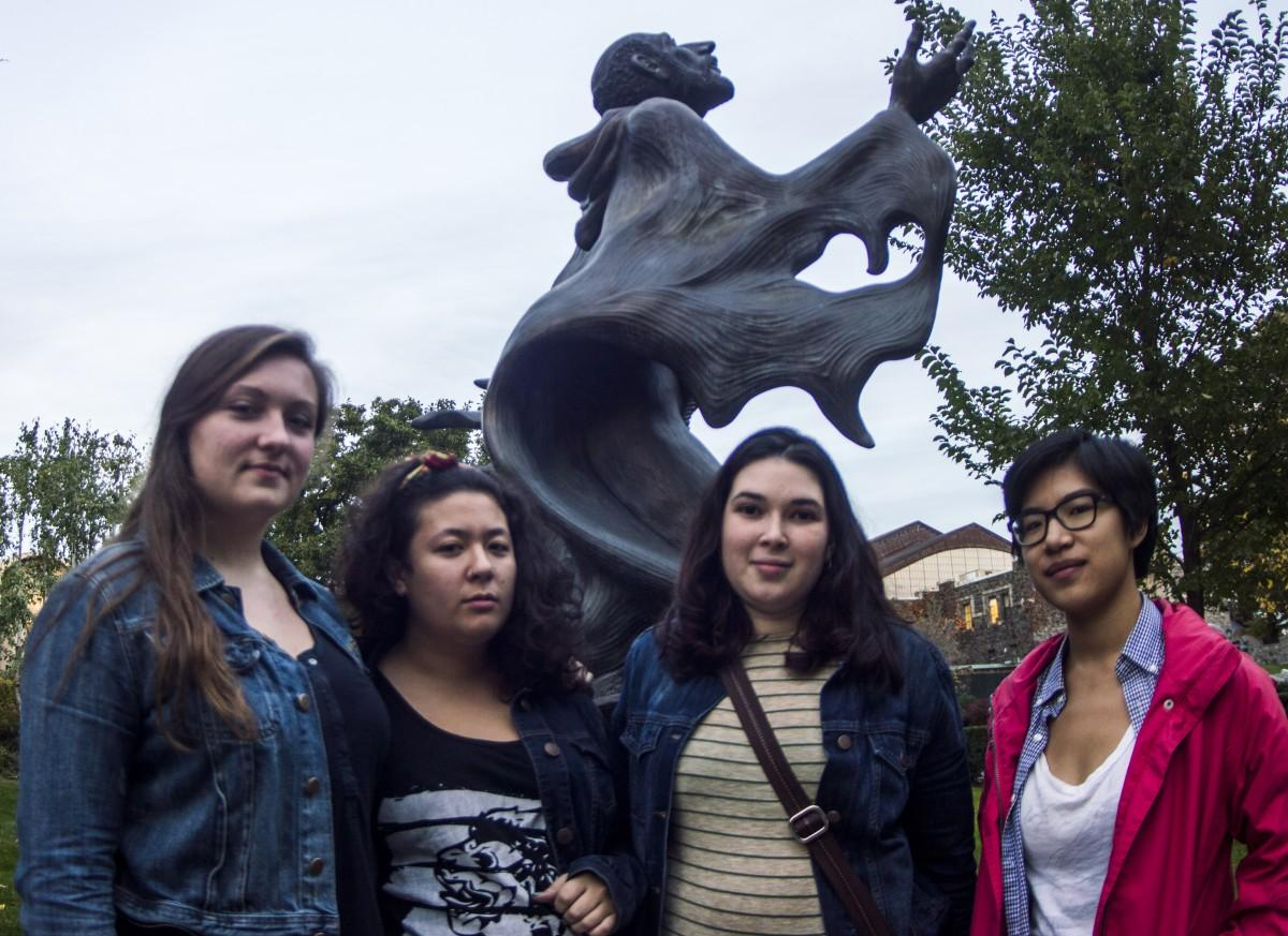 Core members of the S.A.G.E.S. coalition meet to discuss what going public means and what the next steps are. From left to right, Alexandra Leen, FCRH '14, Rachel Field, Wilmarie Cintron-Muniz and Beth Chang, all FCRH '15. (Ian McKenna/The Observer)