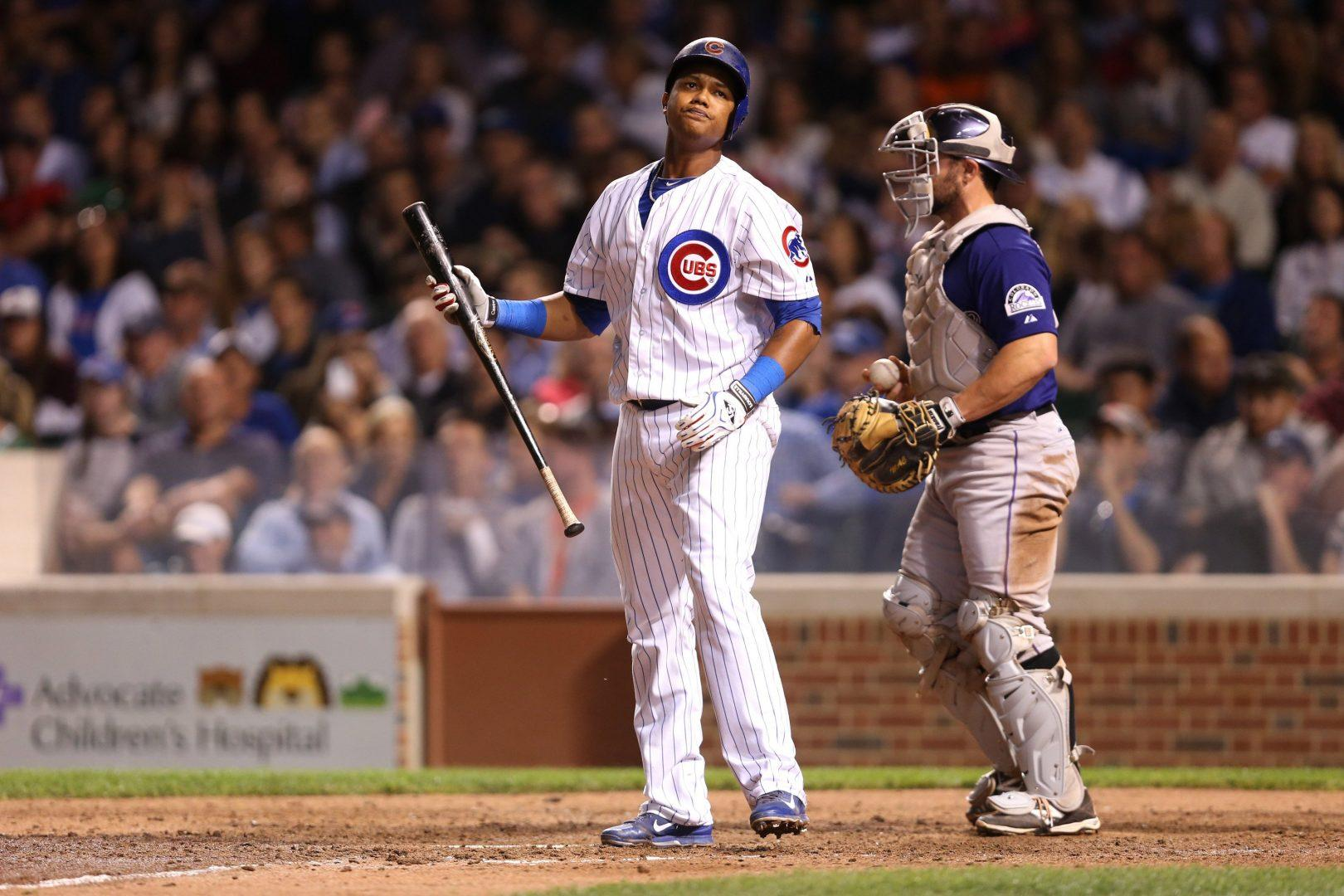 The Chicago Cubs' Starlin Castro reacts after striking out in the sixth inning against the Colorado Rockies at Wrigley Field in Chicago on Wednesday, July 30, 2014. (Chris Sweda /Chicago Tribune/MCT)