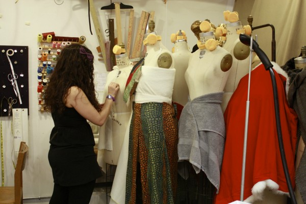 A student works on a garment in FCLC costume shop.  (Emily Tiberio/ The Observer)