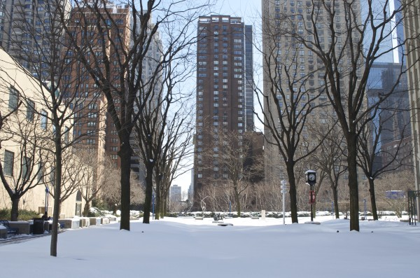The Plaza blanketed in snow after one of the blizzards this season.  (Paula Madero/The Observer)