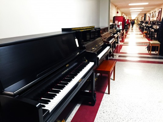 An assortment of pianos line the halls of Lowenstein. (Tyler Martins/The Observer)