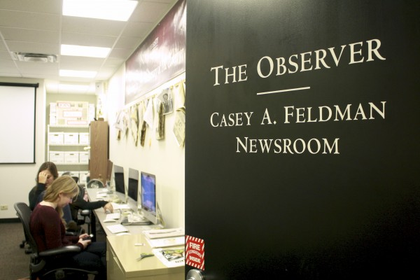 The Observer Newsroom, featured above, is dedicated to Casey Feldman, former News Editor. (PHOTO BY EMILY TIBERIO/THE OBSERVER)