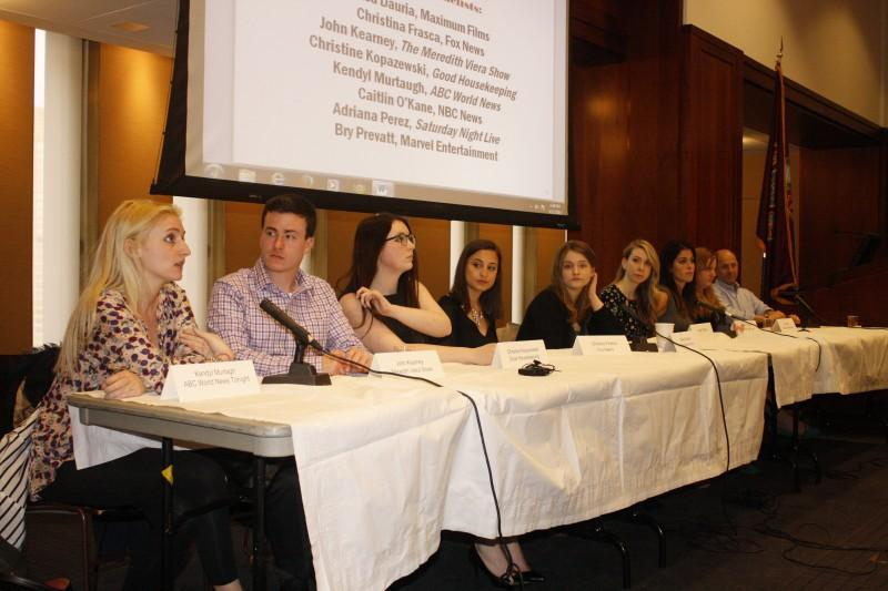 Panel consisted of eight alumni from Prof. Brian Rose's Intern Seminar. (PHOTO BY EMILY TIBERIO/THE OBSERVER)