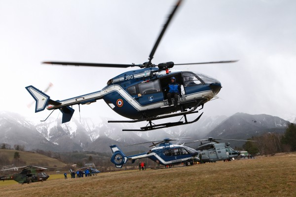 Rescue helicopters fly over the French Alps after the crash of Airbus A320. (PHOTO COURTESY ULIEN TACK/ ABACA PRESS VIA TNS)