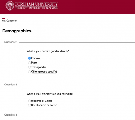 Screen shot from the Sexual Assault Climate Survey.