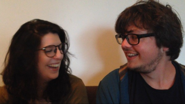 """Serena and Johnny on a date at the """"The Spark"""": a live amateur storytelling event.  (PHOTO BY SYDNEY THORNELL)"""