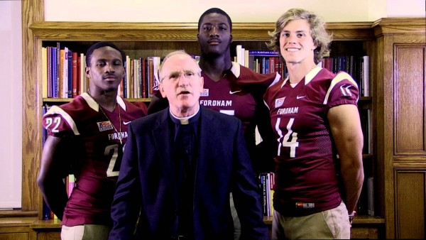 Father McShane and members of the University's football team recorded a greeting, welcoming Francis to New York.