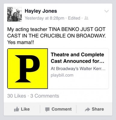 Hayley Jones is one of many theatre students at Fordham who posted about Tina Benko's lead role. PHOTO COURTESY OF ANA FOTA VIA FACEBOOK