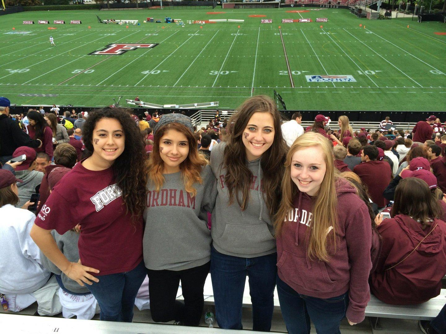 Fordham Students Aryana Azari (FCLC '17), Brianna Rivera (FCLC '17), Katie Kirtland (FCLC '17) and Jenny McNary (FCLC '17) at the 2014 Homecoming Game. Photo courtesy of Katie Kirtland/The Observer