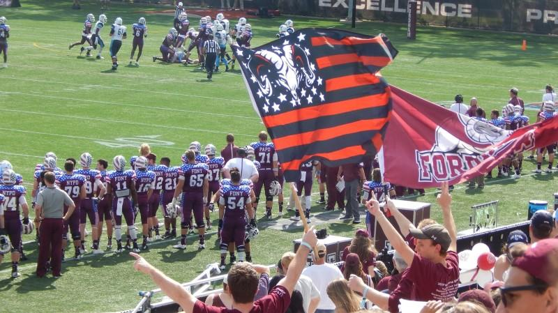 On September 19th, fans in the crowd cheer on the Fordham Rams at Jack Coffey Field. (PHOTO BY LYDIA BENNER/ THE OBSERVER)