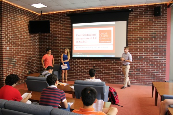 The current executive board of USG from right to left: Leighton Magoon, (FCLC '17), Amanda Richie, (FCLC '16), and Alec Padron, (GSBLC '18). Not pictured, Rory Hanrahan, (FCLC '18), who was running the PowerPoint. (CONNOR MANNION/THE OBSERVER)