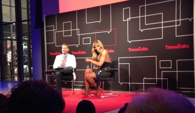 Laverne Cox speaking at the New York Times' TimesTalks at the TimesCenter in Midtown Manhattan. (PHOTO BY ALEX MCMENAMIN/THE OBSERVER)