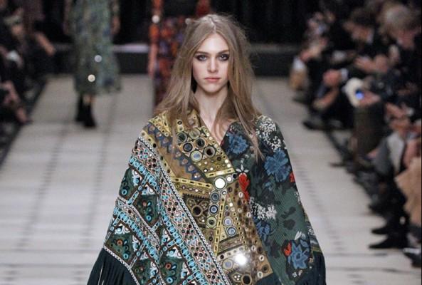 Burberry's embroidered fringe cape. (MCV)