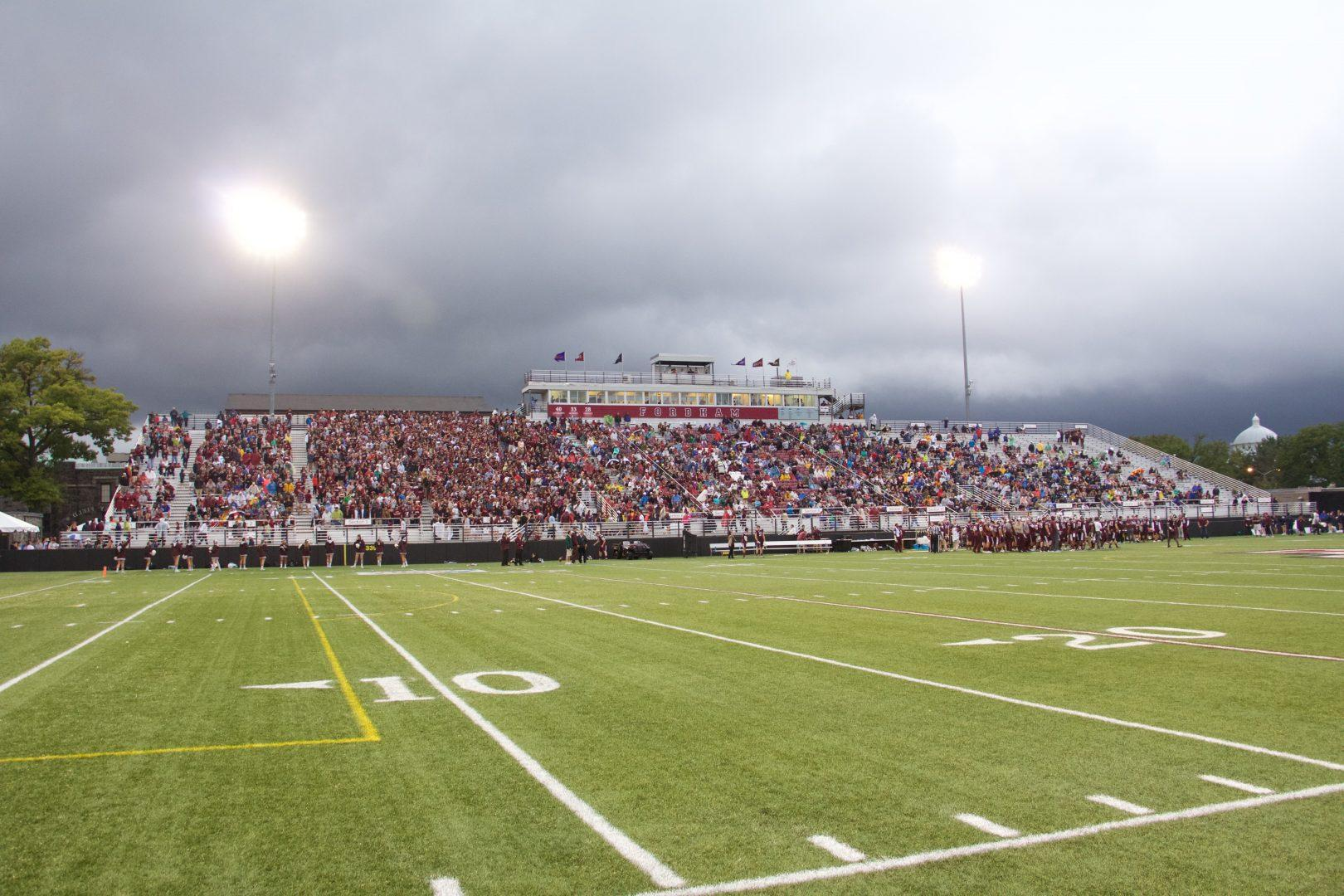 Fans packed the Jack Coffey Field during the first home game earlier this season. (Luke Momo/The Observer)