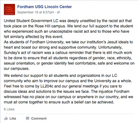 USG uploaded this statement to Facebook on Sept. 16.