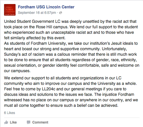 FCLC USG and Theatre Program Speak Out Against Bias Incident