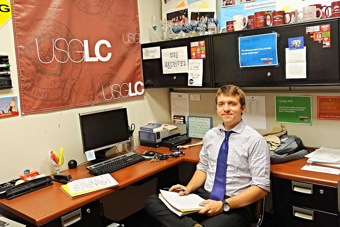 Leighton Magoon, president of USG, working in the club's office, located on the second floor of Lowenstein. (ANA FOTA/THE OBSERVER)