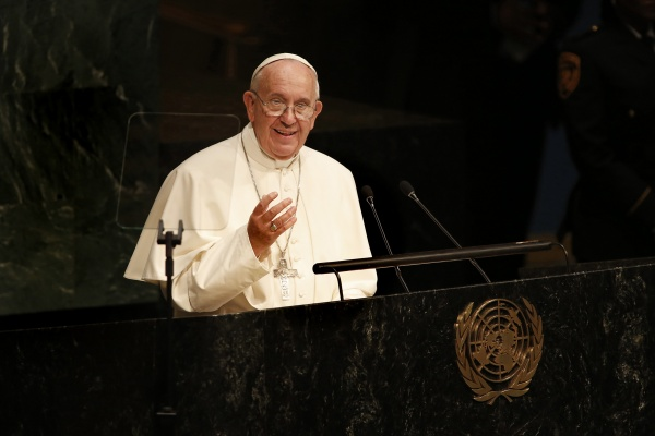 Pope Francis addresses the General Assembly of the United Nations on Sept. 25, 2015 in New York. (Carolyn Cole/Los Angeles Times/TNS)