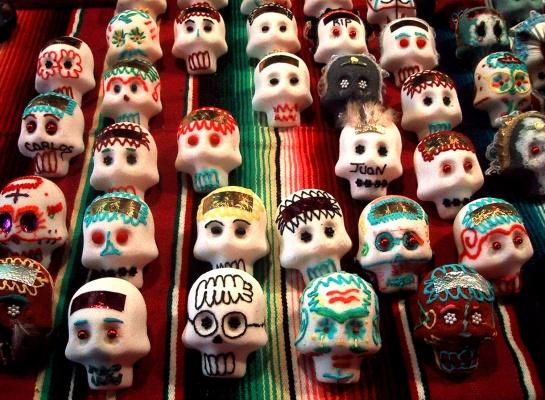 Day of the Dead Sugar skulls for sale on the side of the street in the Mission District, San Francisco. (COURTESY OF YESICA VIA FLICKR)