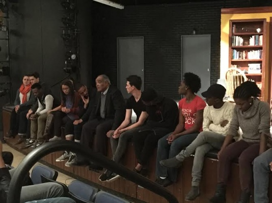 The cast and crew of Fordham University Lincoln Center's fall play about police brutality, Force Continuum, look on as they share their experiences with the mature and relevant content in the play during their TalkBack session on October 15th, 2015. (PHOTO BY LYDIA BENNER/ THE OBSERVER)