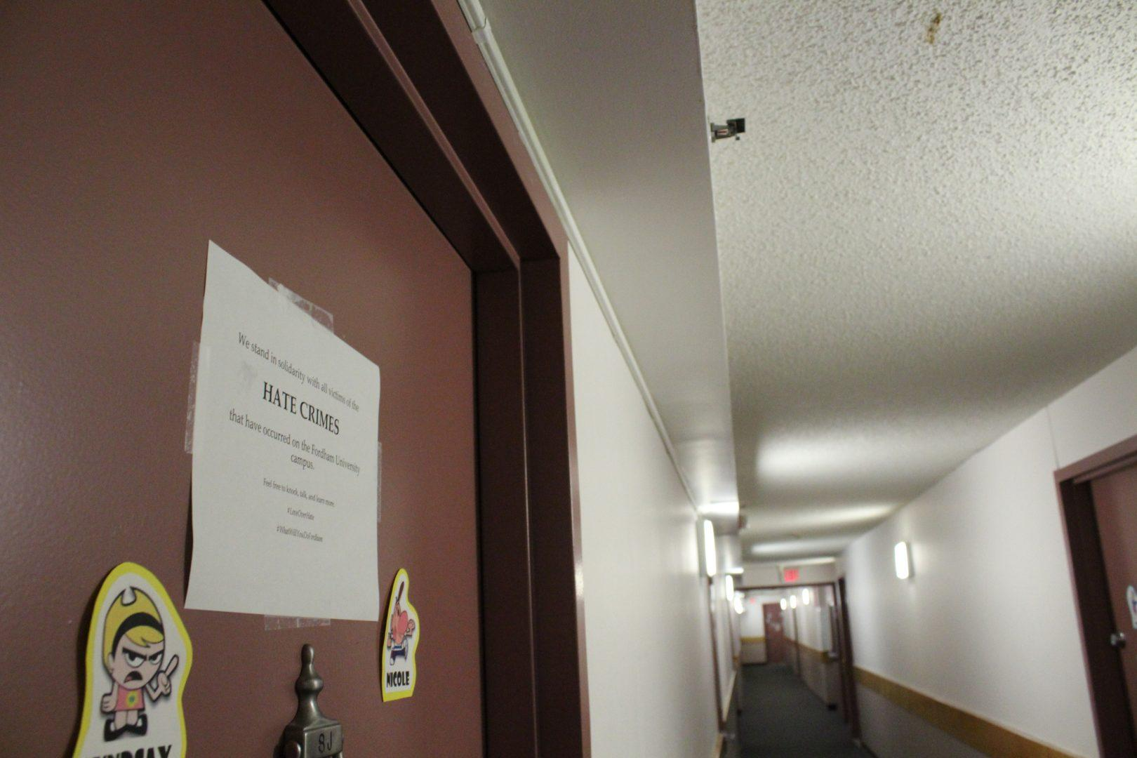Signs expressing solidarity with anyone affected by the bias crimes at Rose Hill can be found throughout McMahon and McKeon Hall (CONNOR MANNION/THE OBSERVER)