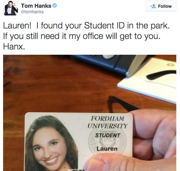 Tom Hanks found a Fordham College at Lincoln Center senior's Fordham ID.