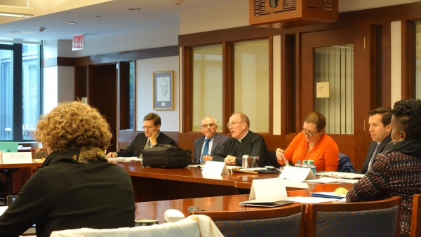Father McShane, president of Fordham University, was the first to speak at the meeting. (ANA FOTA/THE OBSERVER)