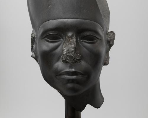 Head of a Statue of Amenemhat III Wearing the White Crown Graywacke H. 47cm (18.5 in.), W. 18.5 cm (7.25 in.) Twelfth Dynasty, reign of Amenehat III (ca. 1859-1813 B.C.)  Head of a Statue of Amenemhat III Wearing the White Crown. Graywacke. H. 47cm (18.5 in.), W. 18.5 cm (7.25 in.). Twelfth Dynasty, reign of Amenehat III (ca. 1859-1813 B.C.). Ny Carlsberg Glypotek, Copenhagen/ (PHOTO COURTESY OF ANNA-MARIE KELLEN)