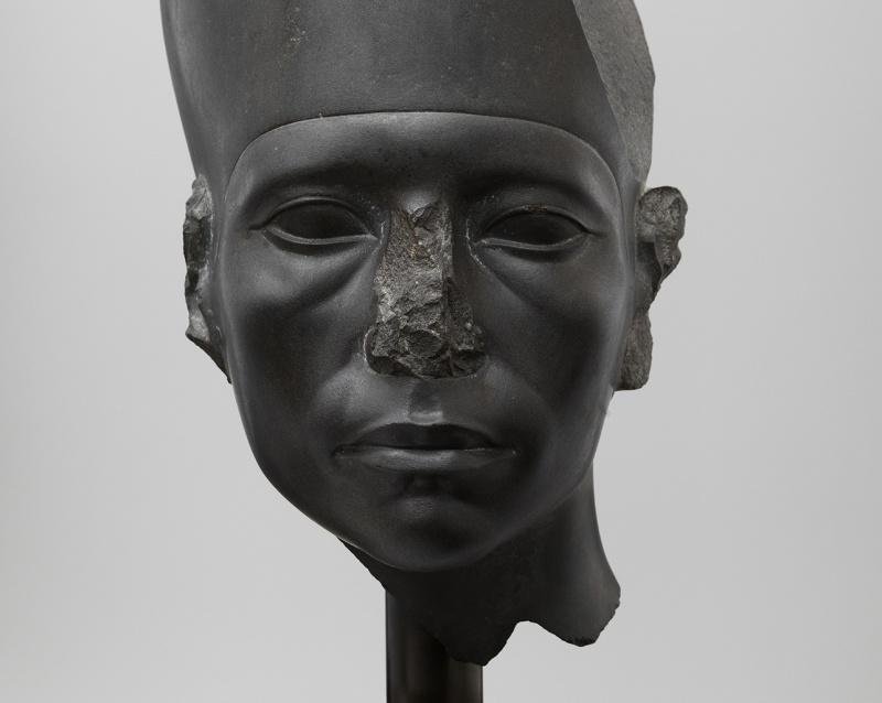 Head of a Statue of Amenemhat III Wearing the White Crown Graywacke H. 47cm (18.5 in.), W. 18.5 cm (7.25 in.) Twelfth Dynasty, reign of Amenehat III (ca. 1859-1813 B.C.)  Head of a Statue of Amenemhat III Wearing the White Crown. Graywacke. H. 47cm (18.5 in.), W. 18.5 cm (7.25 in.). Twelfth Dynasty, reign of Amenehat III (ca. 1859-1813 B.C.). Ny Carlsberg Glypotek, Copenhagen/ (PHOTO COURTESY OF ANNA-MARIE KELLEN)
