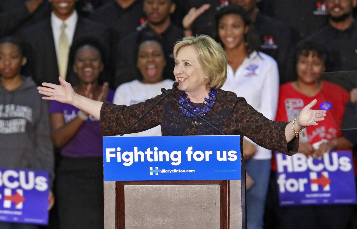 Democratic presidential candidate Hillary Clinton gives a speech during a campaign rally at Clark Atlanta University on Friday, Oct. 30, 2015, in Atlanta. (Bob Andres/Atlanta Journal-Constitution/TNS)