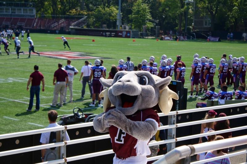 The Fordham University Ram, pictured here at Jack Coffey Field in the Bronx, inspires school spirit in each member of the Fordham community (Julia Cornell /The Observer).