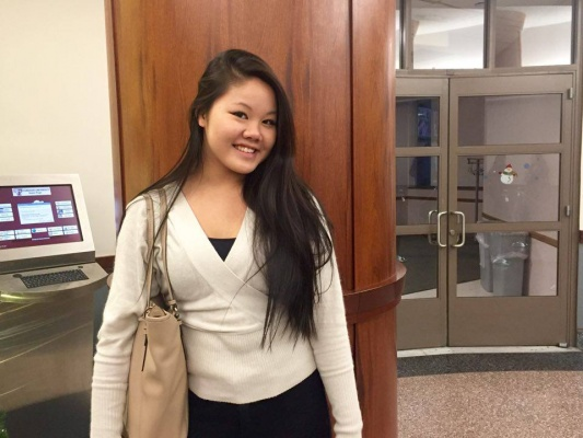 Pictured here, Nopell Wong,  FCLC 18, president of APAC, who led the discussion on Asian-American stereotypes. (ANA FOTA/THE OBSERVER)