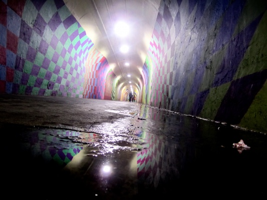 The+W+191st+Street+Subway+Station%26%23039%3Bs+graffiti+tunnel+is+reflected+in+a+puddle.+%28Juliet+Altman%2FThe+Observer%29