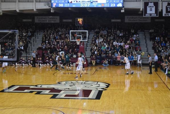 Men's Basketball anticipates a basket during the January 20th home match against George Mason. (PHOTO BY ANDREA GARCIA/ THE OBSERVER)