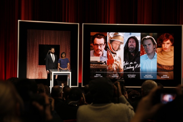 Actor John Krasinski and Academy President Cheryl Boone Isaacs announce Best Actor at the announcement of the 88th Academy Awards nominations during a live news conference on Jan. 14, 2016 at the Academy's Samuel Goldwyn Theater in Beverly Hills, Calif. (Al Seib/Los Angeles Times/TNS)