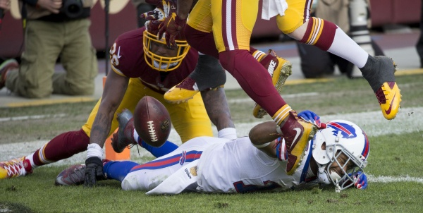 A Buffalo Bills player is injured after a big hit by the Washington Redskins earlier this season. (Keith Allison/Flickr)