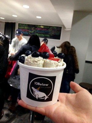 The line was definitely worth it to get to Mott St. and try some of this Thai-created ice cream rolls, made to order.(PHOTO BY REGINA OREA/ THE OBSERVER)