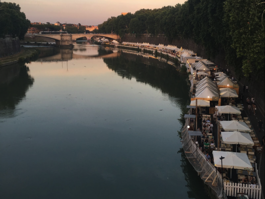 A peaceful night in the neighborhood of Trastevere, overlooking a festival held along the Tiber River. (PHOTO COURTESY OF KYLE J. KILKENNY)