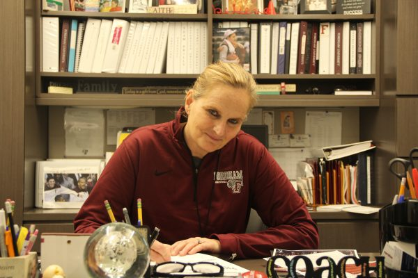 Coach+Gaitley+looks+forward+to+converting+her+achievements+off+the+court+to+wins+on+the+court+as+she+leads+the+Fordham+Women%27s+Basketball+team.+%28JASON+WANG%2FTHE+OBSERVER%29