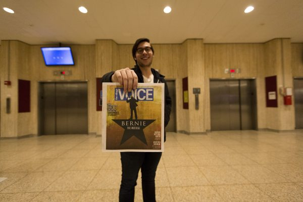 FCLC Sophomore Michael Appler displays his cover story on The Village Voice. (JESSE CARLUCCI/The Observer)