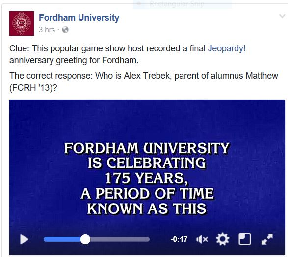 Fordham University's Facebook page shared a special dodransbicentennial message from Jeopardy! host Alex Trebek on Jan. 3.