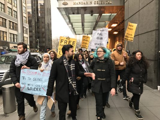 Students protesting the university's veto of SJP marched to and from Columbus Circle at the end of the event. (PHOTO BY STEPHAN KOZUB/THE OBSERVER)