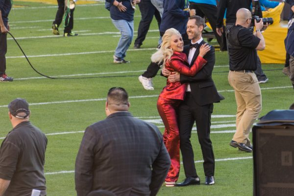 The year before Lady Gaga was offered the halftime performace, she sang the National Anthem for the game. (PHOTO COURTESY IF ARNIE PAPA VIA FLICKR)
