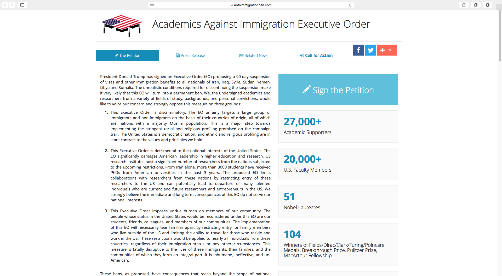 Over 27,000 academics signed the petition. (SCREENSHOT TAKEN FROM NOTOIMMIGRATIONBAN.COM)