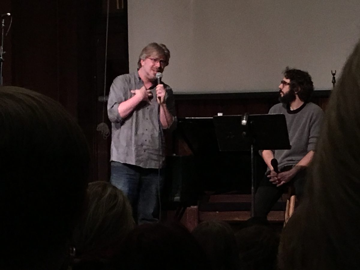 Dave Malloy (left) and Josh Groban (right) answered fan questions and assisted them in the recording process. (MARYANNA ANTOLDI/THE OBSERVER)