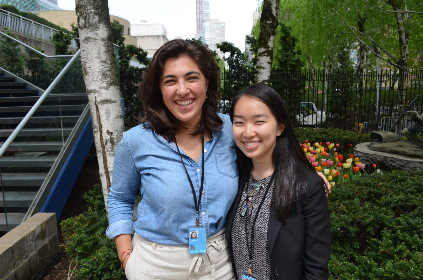 Olivia LaBarge (left), FCLC '19, received an Honorable Mention at the Model United Nations Conference. (JILLIAN JAYMES/The Observer)