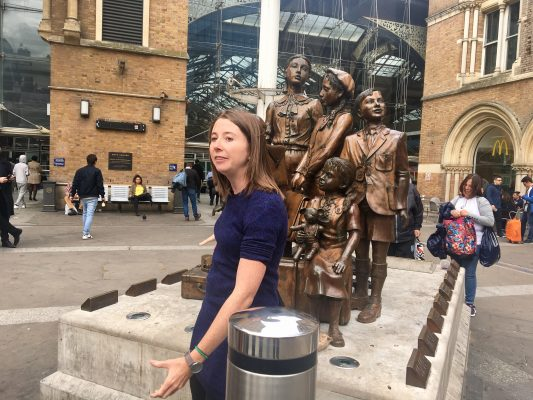 We began our tour with Charley in front of the Liverpool Station at the Kindertransport statue. (DEIRDRE MCGRATH/ THE OBSERVER)